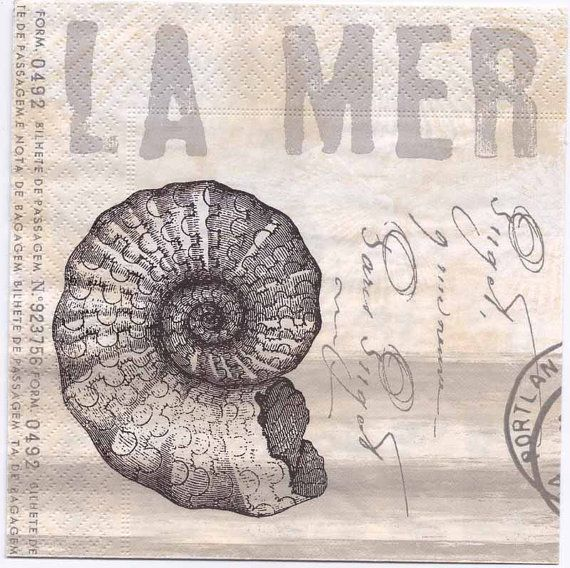 Vintage print of a sea nautilus, a postmark, and French text , napkins are printed in Germany on 3-ply paper. These are perfect for paper arts and