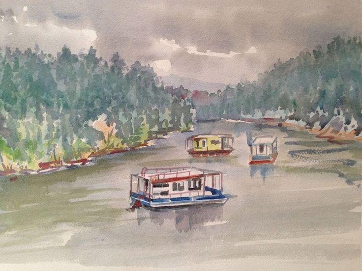 Original Watercolor - by C. Finance California Artist - River Boats