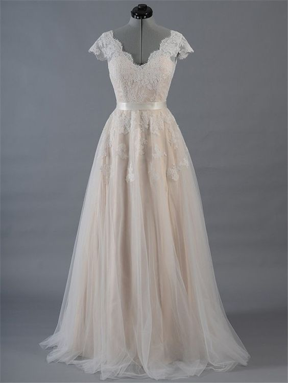 9d7b2ecbd A Line Scalloped Neck Champagne Satin Tulle Lace Wedding Dress With Sleeves