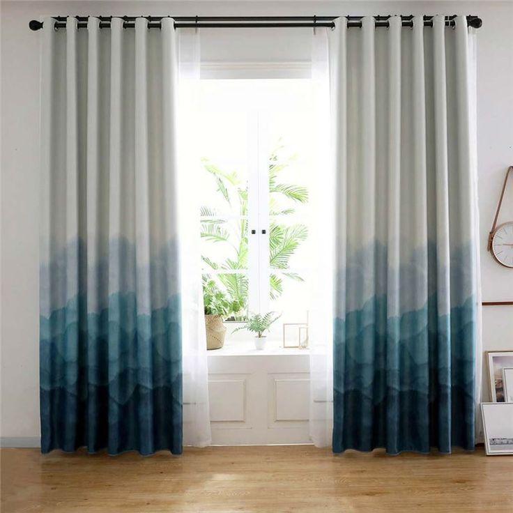 Blue Fog Printed Curtain Modern Simple Blackout Curtain
