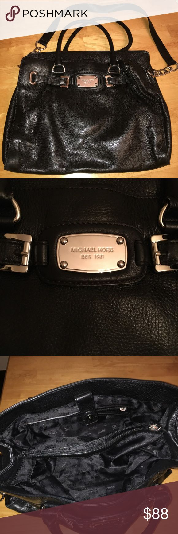 Michael Kors Black Leather Bag Can be worn as cross body or handbag! Very spacious bag with several compartments. Black leather is timeless! Michael Kors Bags Crossbody Bags