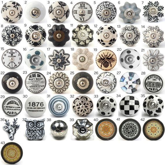 vintage boutons en c ramique poign es de porte d coratifs avec divers noir blanc gris. Black Bedroom Furniture Sets. Home Design Ideas