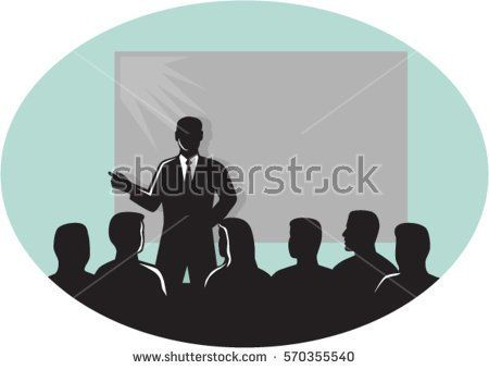 Illustration of a speaker talking in front of audience with a projector screen at the back set inside oval shape done in retro woodcut style . #lecture #silhouette #illustration