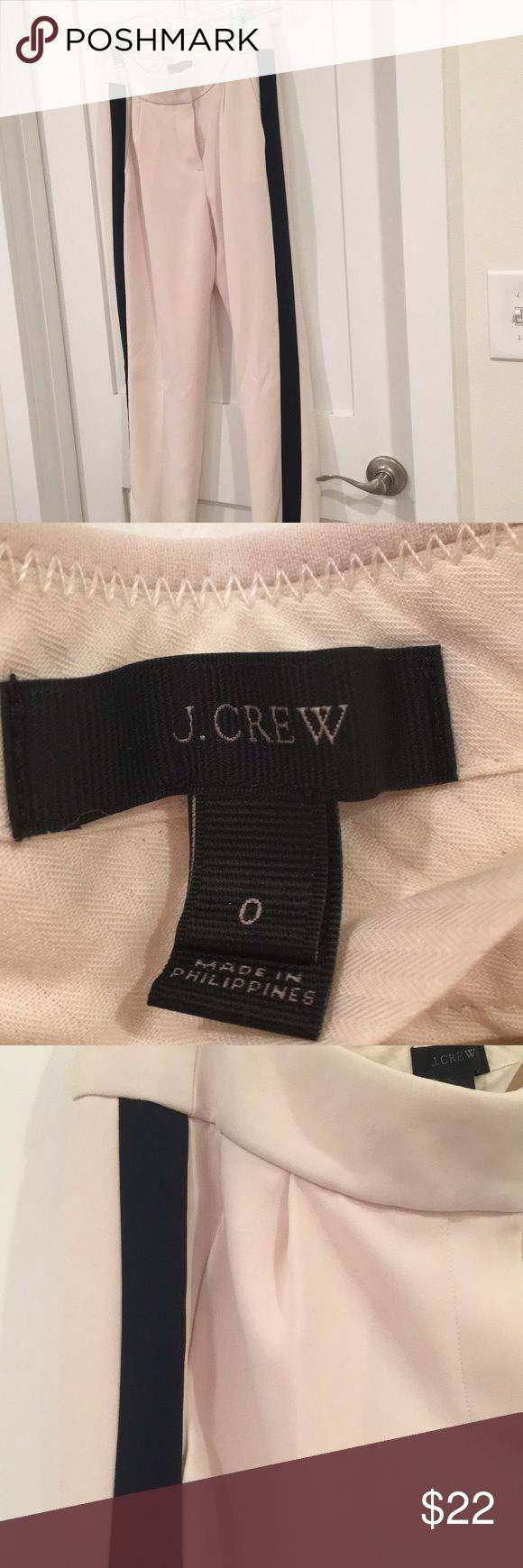 J.crew tuxedo pants Jcrew tuxedo pants, off white with beautiful black stripes. These are lined so they won't be see through! They are a relaxed fit and have been worn only once. J. Crew Pants Trousers