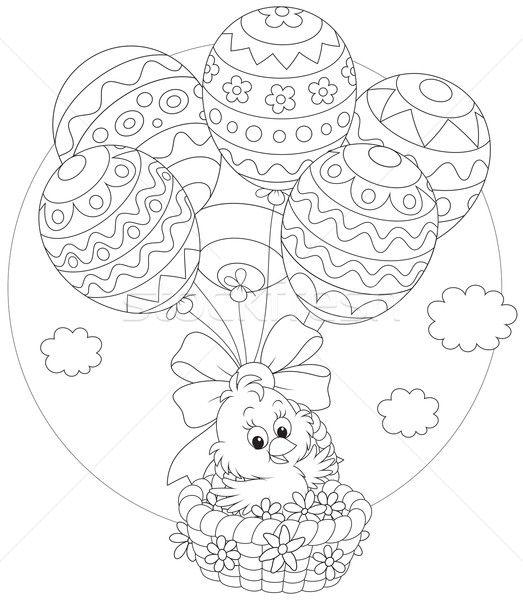 Stock fotó: Húsvét · csirke · léggömbök · kicsi · citromsárga · tyúk