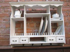 Wall Mounted Plate Rack Shabby Vintage Chic Kitchen Plate