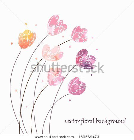 Floral Vintage Background. Watercolor Flowers. Ilustración vectorial en stock 130569473 : Shutterstock