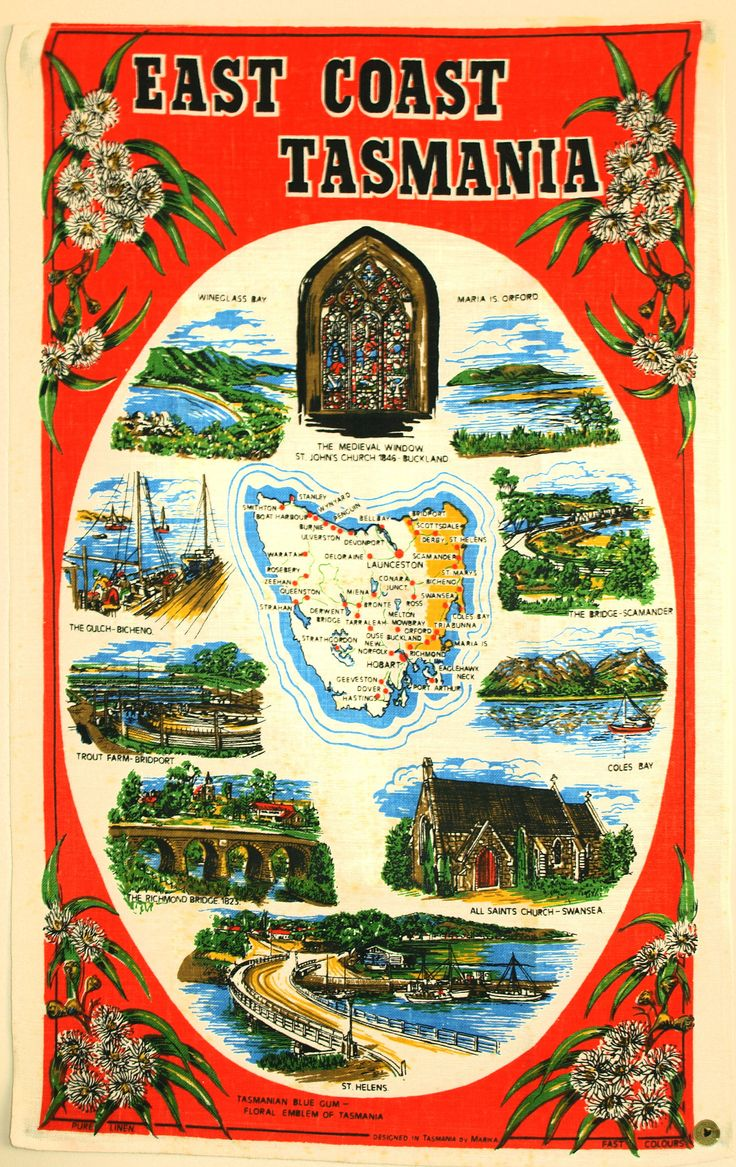 East Coast Tasmania Map Souvenir Tea Towel - Vintage Retro Pure Linen Tassie Australia - New Old Stock by FunkyKoala on Etsy
