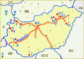 mapka dálnic a termálních lázní