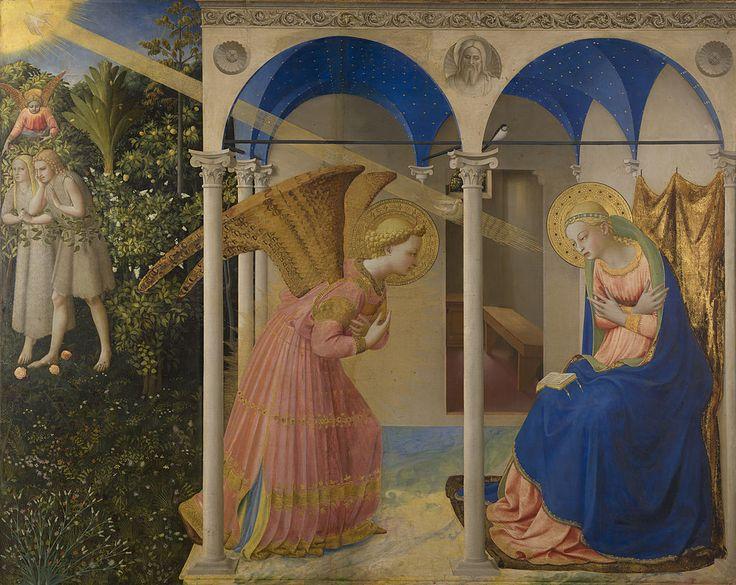 La Anunciación, by Fra Angelico, from Prado in Google Earth - main panel - Фра Беато Анджелико — Википедия