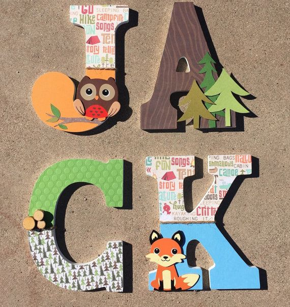 These wooden letters are customized to your needs, and in the case of these wood initials they are all about the woodlands! Whether you are in