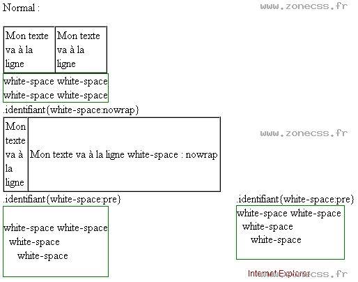 La propriété CSS white-space permet spécifier la manière dont votre navigateur va interpréter les espaces blancs et les types de caractères de retour à la ligne