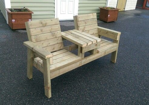 "Heavy Duty Double Chair + Table  Pressure Treated 4 x 2 5' 2"" x 25"" x 35"" From €145 www.stsheds.com Botley Lane  Portarlington"