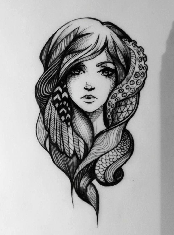 sketches of women tattoo