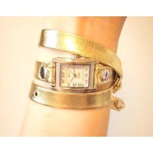 LA MER  ( ラメール ) gold-silver silver square & details   巻き巻きッ で キラキラ ★☆  時計 G  ☆