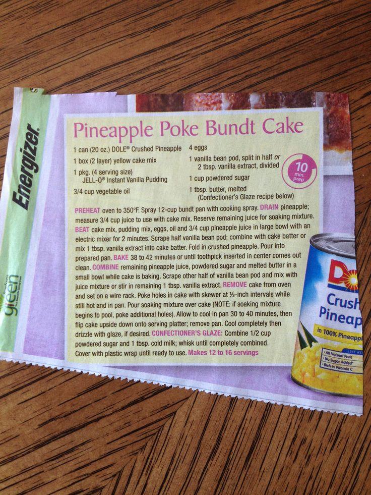 Pineapple Poke Cake Poke Cakes And Cakes On Pinterest