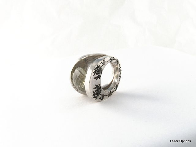 Laser engraving on the side of Sterling silver ring