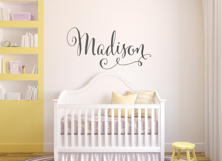 A personal favorite from my Etsy shop https://www.etsy.com/listing/192523660/swirly-name-wall-decal-baby-girl-nursery