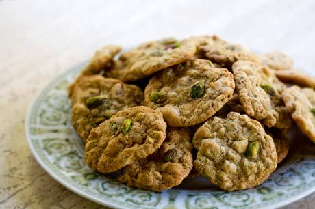 Pistachio White Chocolate Chip Cookies on Simply Recipes