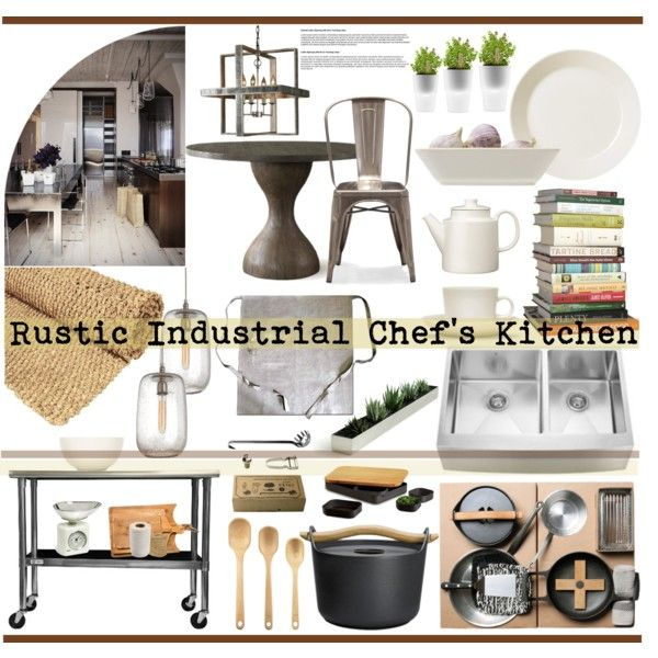 Rustic Industrial Chef's Kitchen, created by reddotdaily on Polyvore