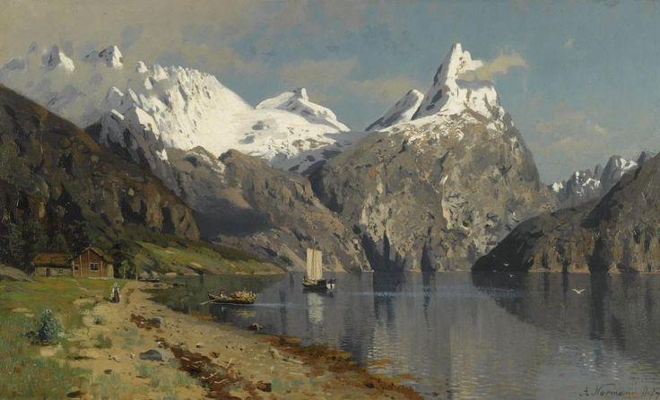 ADELSTEEN NORMANN NORWEGIAN 1848-1918 FJORD LANDSCAPE: