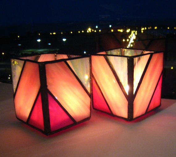Red, Pink, and White Hand-Crafted, Stained Glass Votive Candleholders with a Diagonal Design by Krista