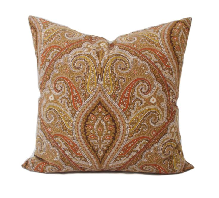 22x22 Decorative Pillows : Brown pillow cover, Brown accent pillow, Throw pillow, Decorative pillow, Cushion, Sham, Paisley ...