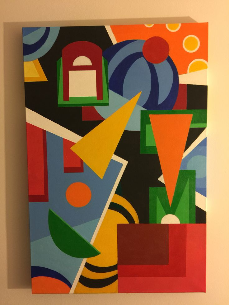 Dominic (2014) dry acrylic  24x36 /heavily influenced by #augusteherbin 's alphabet plastique form which uses form/ colors to spell codes in the painting. I spelled out my nephews name for which the painting was made. #abstractart #painting