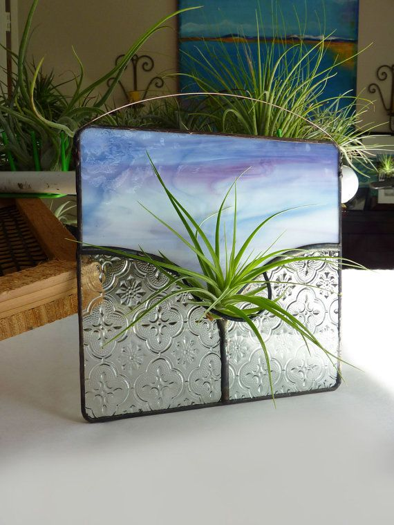 Stained Glass Panel Air Plant Holder Lilac Art by glassetc