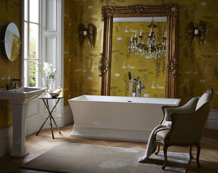 Heritage Bathrooms Grand Chesham Mirror, new Penrose bath, Blenheim sink and statement wallpaper