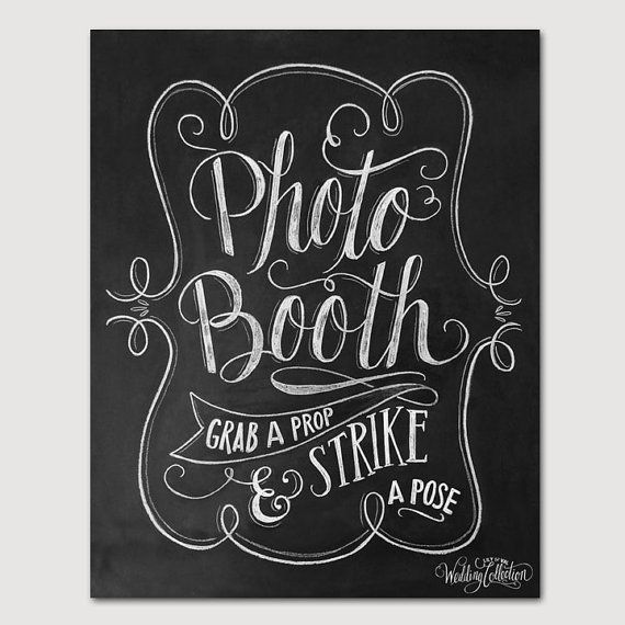 Photo Booth Sign - Wedding Photo Booth Print - Grab A Prop And Strike A Pose - Chalkboard Wedding