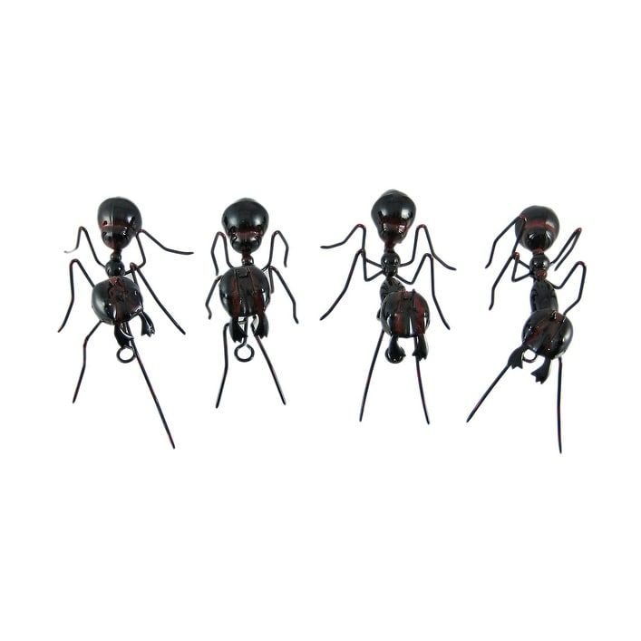 Set Of 4 Black Ant Metal Statues Insect Figures