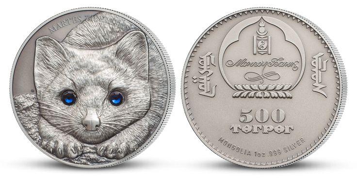 Strieborná minca - Kuna soboľ- úchvatné detaily s kryštálmi Swarovski