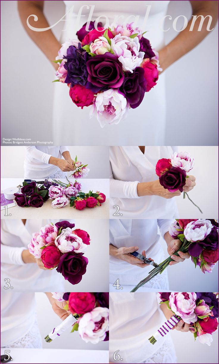 DIY purple and fuschia wedding bouquet: Peonies and roses in assorted shade of pink and purple create a gorgeous bridal bouquet for a glam wedding. | DIY wedding bouquet | Glam bride | Afloral.com