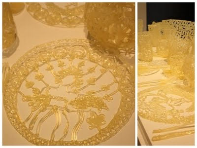 art at its most intricate ... dinner setting made from hot glue