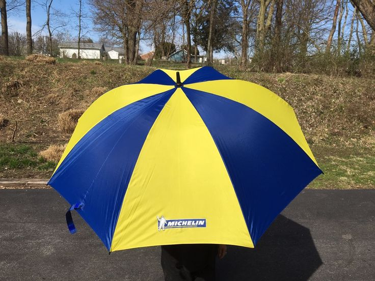 Michelin Tires 52 Golf Umbrella Advertizing Promo Blue Yellow with Cover Tyres