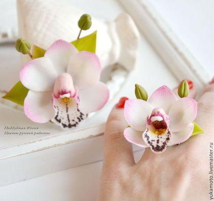"""Комплект """"Ангелина"""" (кольцо и брошь) - подарок,свадебное украшение,бледно-розовый"""