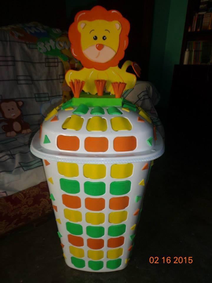 cesta de ropa sucia decorada safari o animals de la selva o tema de la jungla