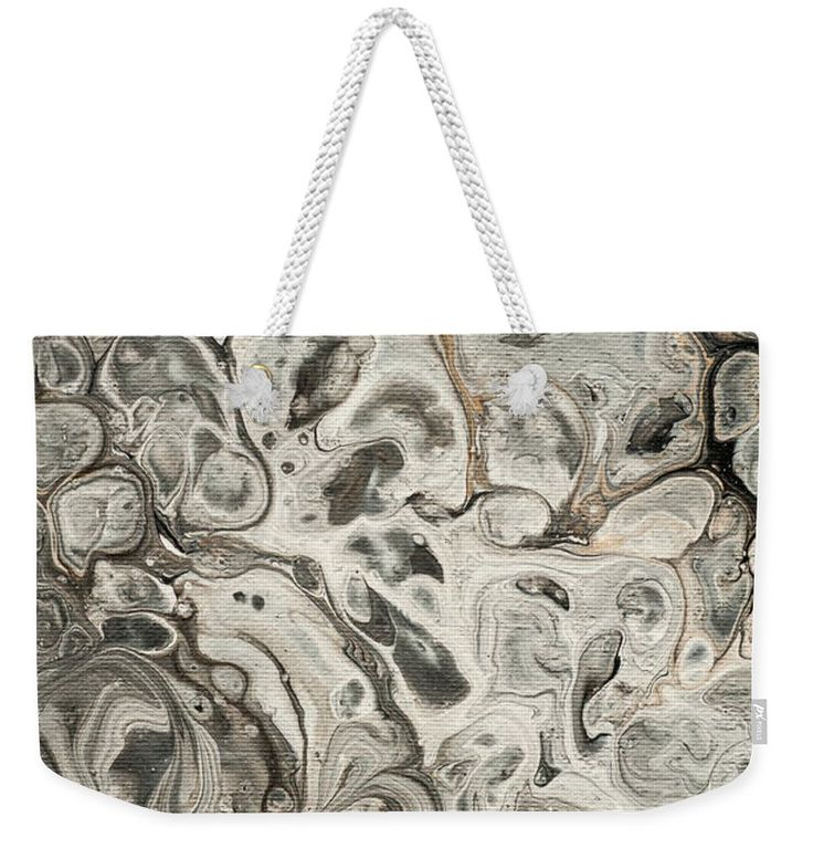 "Fifty Shades Of Grey Fragment 2.  Abstract Fluid Acrylic Painting Weekender Tote Bag (24"" x 16"") by Jenny Rainbow.  The tote bag includes cotton rope handle for easy carrying on your shoulder.  All totes are available for worldwide shipping and include a money-back guarantee."