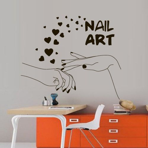 Nails wall decal decor decals art salon nail polish beauty - Stickers salon design ...