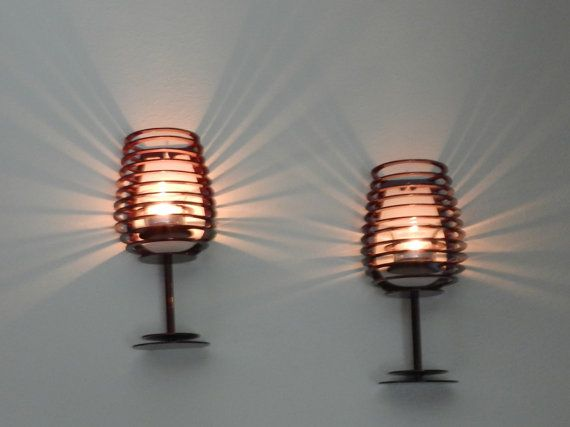 A Pair of Wine Glass Wall Sconces Metal by SunsetMetalworks
