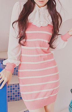 cute cotton striped mini dresses, cute outfit, K Fashion,  (≧∇≦)/ casual, cute outfit, Cute Korean Fashion, korea, Korean, seoul, kfashion, kpop fashion, girl's wear, ladies' wear, pretty, kawaii, pink