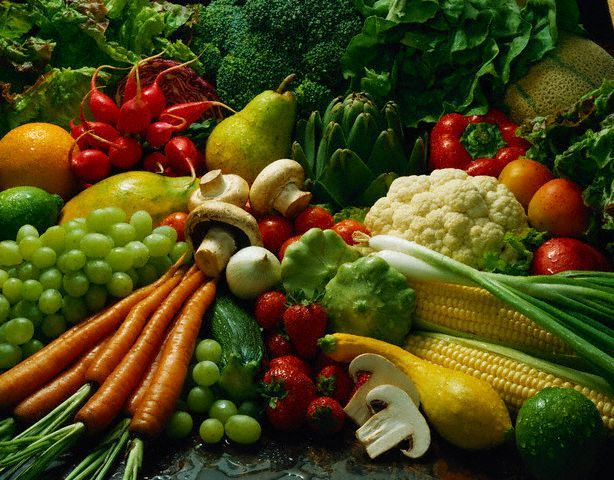YUM! Fresh fruits and vegetables. I love most fruit and vegetables - raw or cooked.