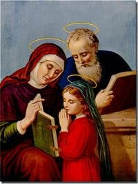 St. Joachim and St. Anne, parents of the Blessed Virgin Mary.     Remember it is their conception of Mary that is the Feast we observe today.  Mary's nativity is in September, nine months from now.