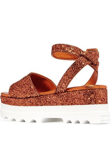 Miu Miu - Glittered Leather Platform Sandals - Orange - IT