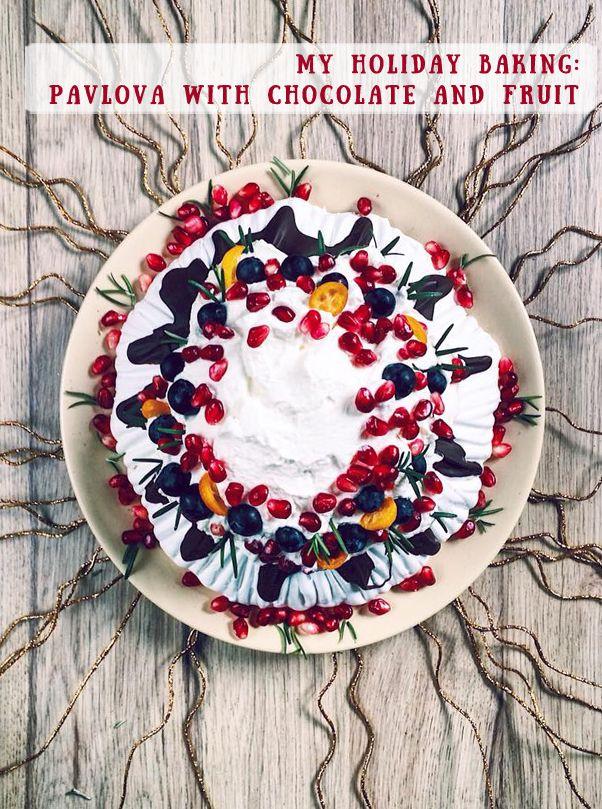 Pavlova with chocolate and fruit recipe