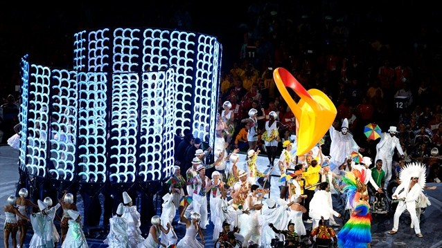 The stage is taken over by performers representing Rio 2016 who act out a battle between two Brazilian regional styles, parafuso and frevo, during the Closing Ceremony of the London 2012 Paralympic Games.