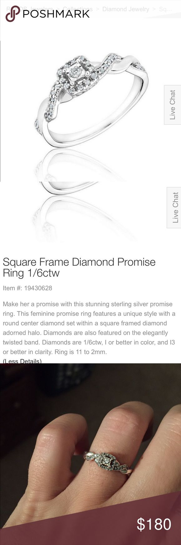 Reeds Diamond Promise Ring Reeds Square Frame Diamond Promise Ring. Beautiful and feminine! Size 5.5/6 Jewelry Rings