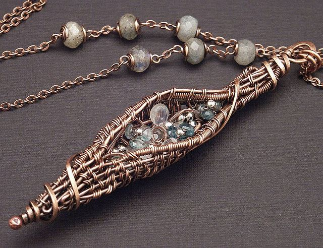 Twined Wire Seed Pod Necklace with gemstone garden