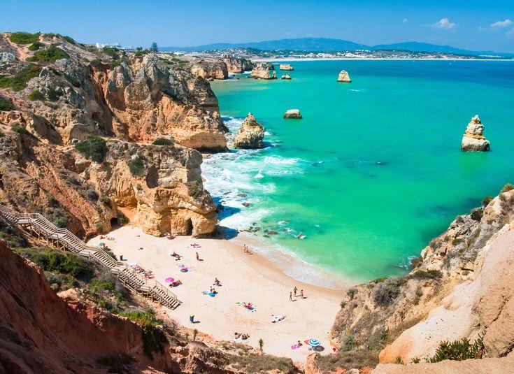 Algarve Algarve, Portugal sky mountain rock water Nature Coast valley Sea coastal and oceanic landforms Beach rocky cliff promontory canyon cove shore cape terrain sand Ocean inlet headland Lagoon formation klippe hillside Island
